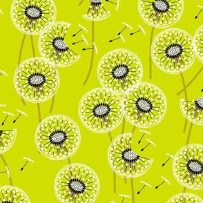 fanciful flight - make a dandelion wish! - grass green