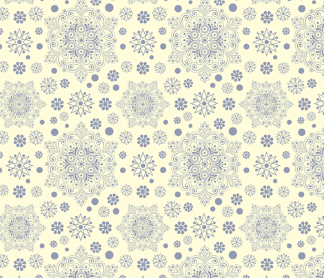 vintage snowflakes fabric by smalty on Spoonflower - custom fabric