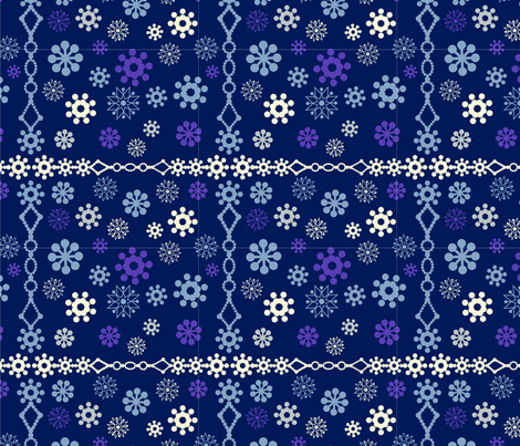 snowflakes borders fabric by lena_sokol on Spoonflower - custom fabric