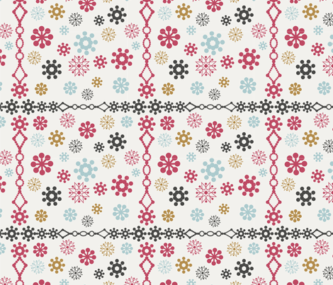 colorful snowflakes borders fabric by smalty on Spoonflower - custom fabric