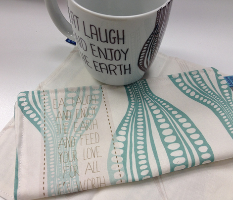 Eat Love Laugh napkins in jade
