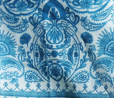 1900s Blue Embroidery