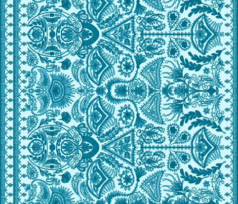 1900s Blue Embroidery fabric by ninniku on Spoonflower - custom fabric