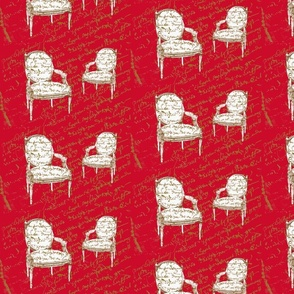 Two French Chairs, on red