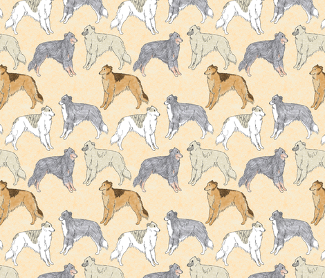 Standing Long haired Whippets fabric by rusticcorgi on Spoonflower - custom fabric