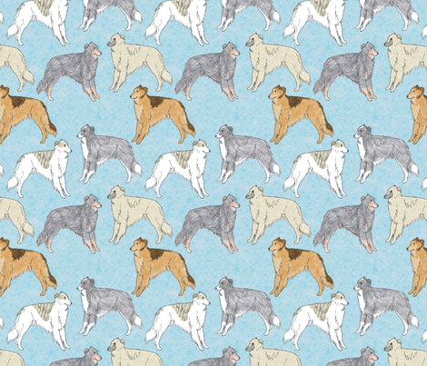 Standing Long haired Whippets - blue fabric by rusticcorgi on Spoonflower - custom fabric