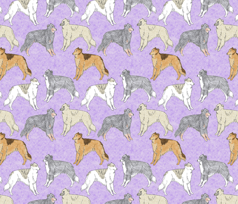 Standing Long haired Whippets - purple fabric by rusticcorgi on Spoonflower - custom fabric