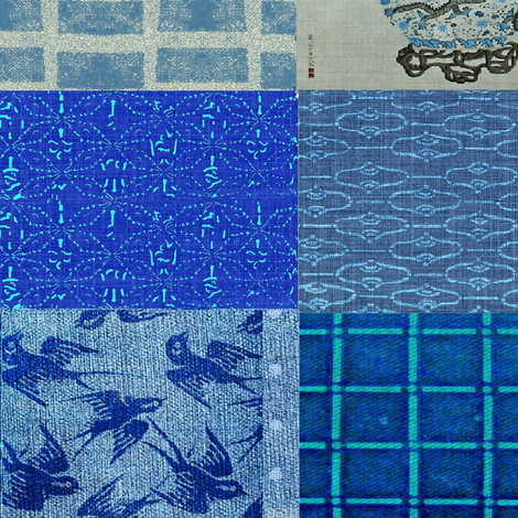 Asian Cheater Quilt -  indigo/denim, green, red fabric by materialsgirl on Spoonflower - custom fabric