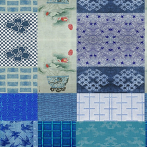 Asian Cheater Quilt -  indigo/denim, green, red