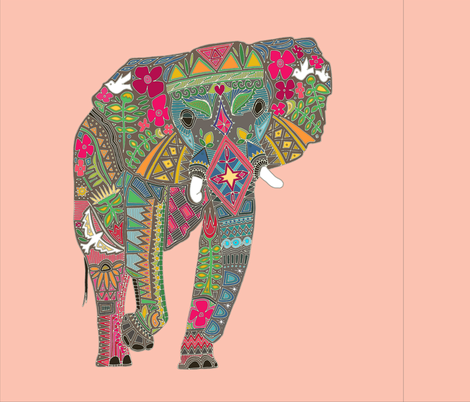 painted elephant pale coral 18 inch panel fabric by scrummy on Spoonflower - custom fabric
