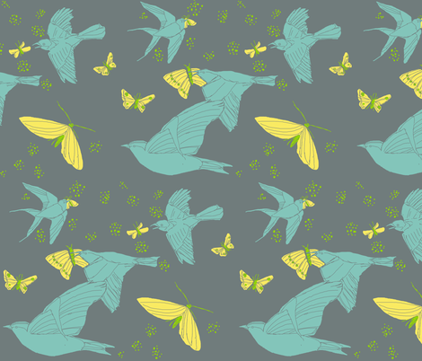 Birds at Night variation fabric by amordenti on Spoonflower - custom fabric