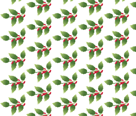 Leaf-holly fabric by terriaw on Spoonflower - custom fabric