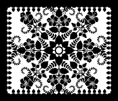 Akahai Quilt - black & white fabric by jennartdesigns on Spoonflower - custom fabric