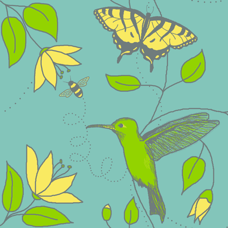 Flights of fancy - limited palette contest fabric by victorialasher on Spoonflower - custom fabric