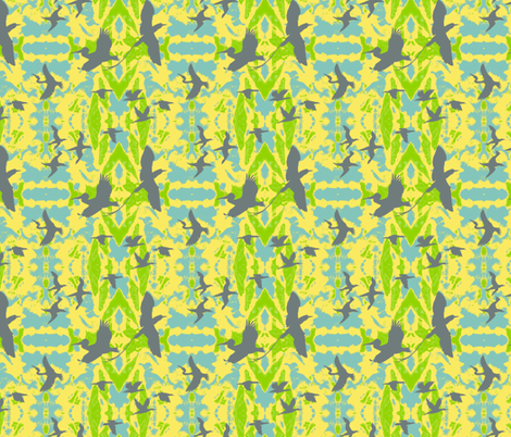 Birds_Flights_of_Fancy by Sylvie fabric by art_on_fabric on Spoonflower - custom fabric