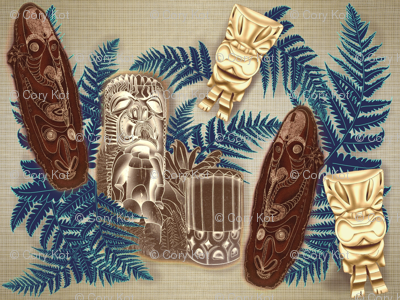 Tikis and Pahu Hawaiian drum w/ferns