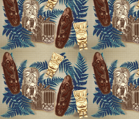 Tikis and Pahu Hawaiian drum w/ferns fabric by waiomaotiki on Spoonflower - custom fabric