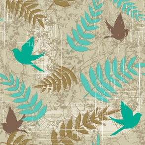 Brown and Teal Bird Design