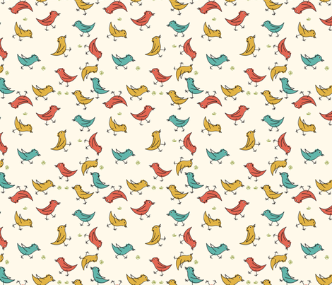 Retro Cartoon Birds fabric by diane555 on Spoonflower - custom fabric