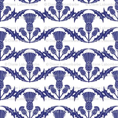 Scottish Thistles on White