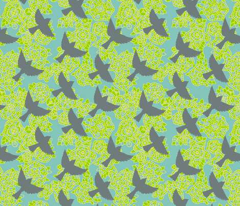 sparrows fabric by simut on Spoonflower - custom fabric