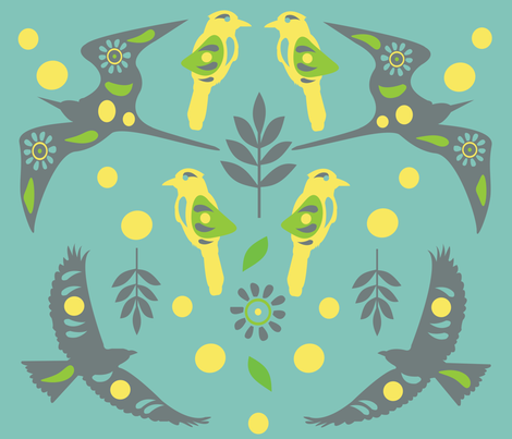 Fancy Wings-Teal fabric by amy_frances_designs on Spoonflower - custom fabric