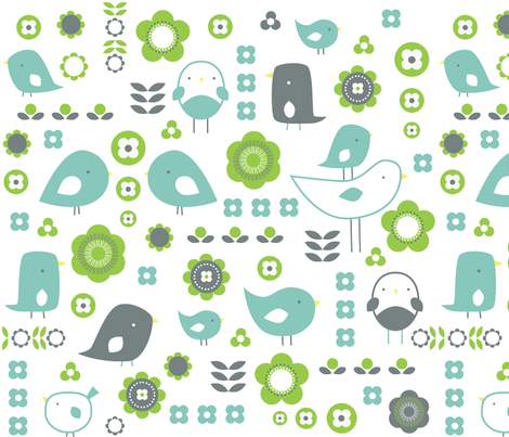 Fancy Birds fabric by under_the_hill on Spoonflower - custom fabric