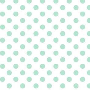 polka dots mint green and white