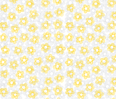 Wee Flowers, Yellow fabric by janet_antepara on Spoonflower - custom fabric