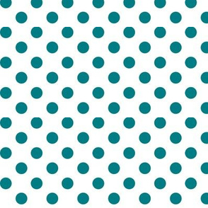 polka dots dark teal and white
