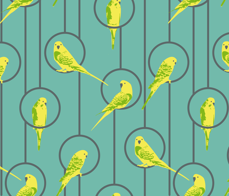 Yellow Budgies fabric by kathryn_pledger on Spoonflower - custom fabric