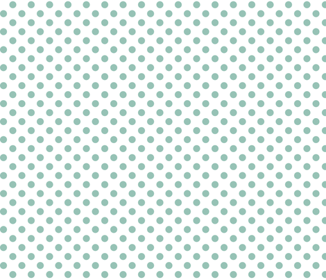 polka dots faded teal and white