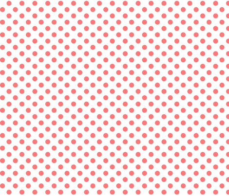 polka dots coral and white