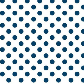polka dots navy blue and white