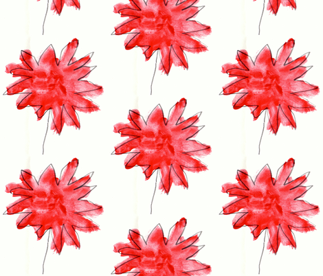 Sammy's red flowers on white fabric by annemclean on Spoonflower - custom fabric