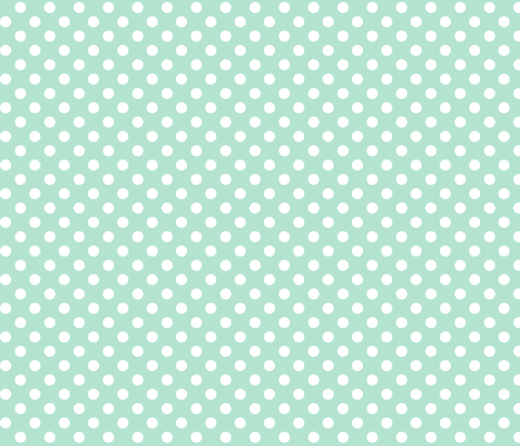 polka dots 2 mint green and white