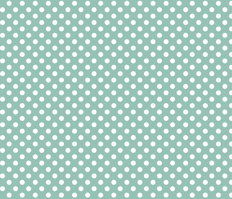 polka dots 2 faded teal and white fabric by misstiina on Spoonflower - custom fabric