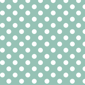 polka dots 2 faded teal and white
