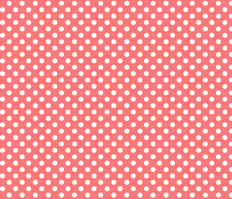 polka dots 2 coral and white fabric by misstiina on Spoonflower - custom fabric