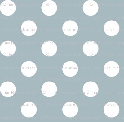 polka dots 2 slate blue and white