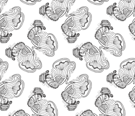 Gates of the Nereids, Black and White fabric by janet_antepara on Spoonflower - custom fabric