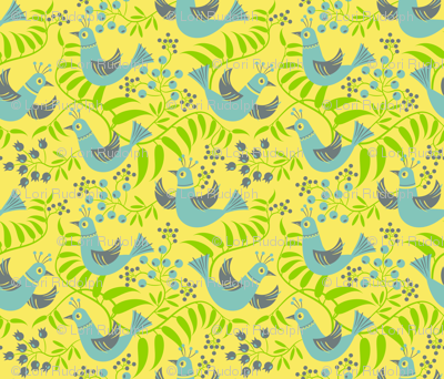 Birds, Berries and Blooms ~ on yellow (option no. 1)