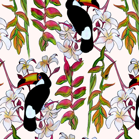 Toucans_in_the_Pink. fabric by art_on_fabric on Spoonflower - custom fabric