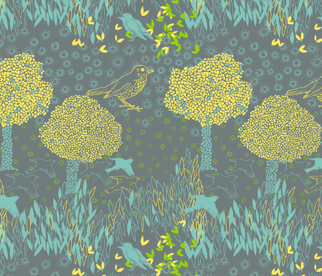 forest and birds fabric by jeannemcgee on Spoonflower - custom fabric