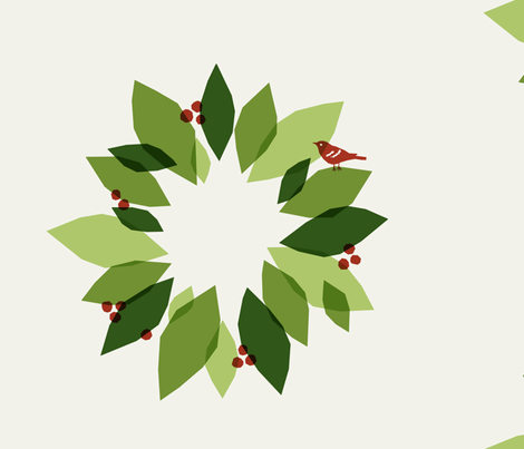 Christmas Wreath fabric by alicia_vance on Spoonflower - custom fabric