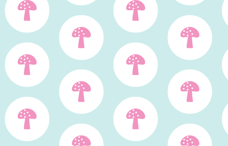 Woodland Magic Mushroom Mint fabric by emma_smith on Spoonflower - custom fabric
