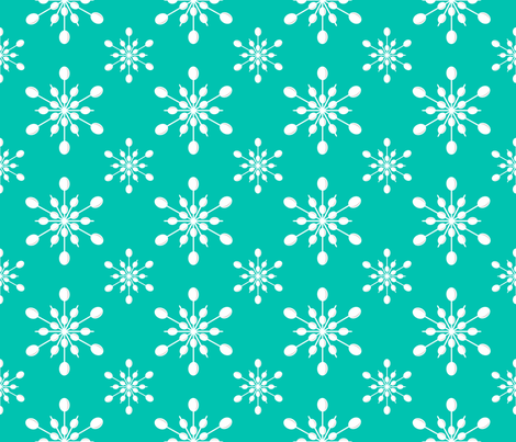 Vintage Plastic Snowflakes ~ on holiday turquoise fabric by retrorudolphs on Spoonflower - custom fabric