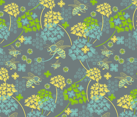 Flight of the honey bee fabric by cjldesigns on Spoonflower - custom fabric