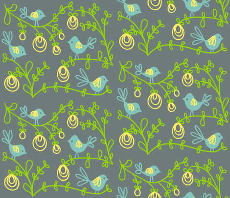 Birds on Branches fabric by kdl on Spoonflower - custom fabric
