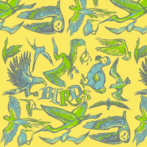 Birds fabric by loeff on Spoonflower - custom fabric